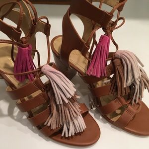 Marc Fisher Multi Colored Tassel Sandals